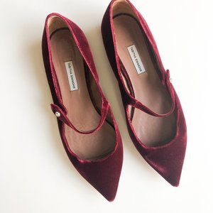 Tabitha Simmons Red Velvet Hermione Flat Size 40/9